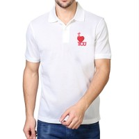 Embroidered Mix Cotton Polo T-Shirt White