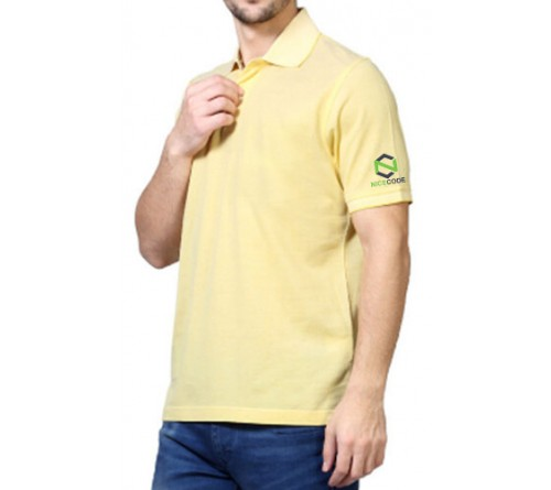 Embroidered Blended Fabric Polo T-Shirt Light Yellow