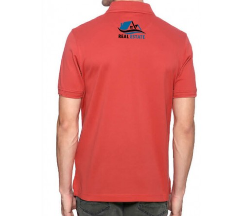 Embroidered Blended Fabric Polo T-Shirt Red