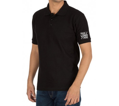 Embroidered Polo Cotton T-Shirt Black