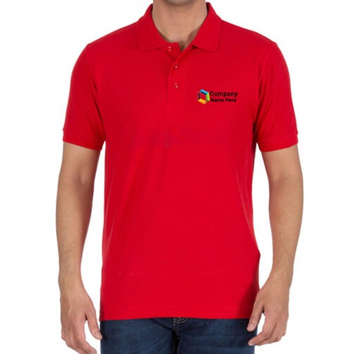 Embroidered Polo Cotton T-Shirt Red
