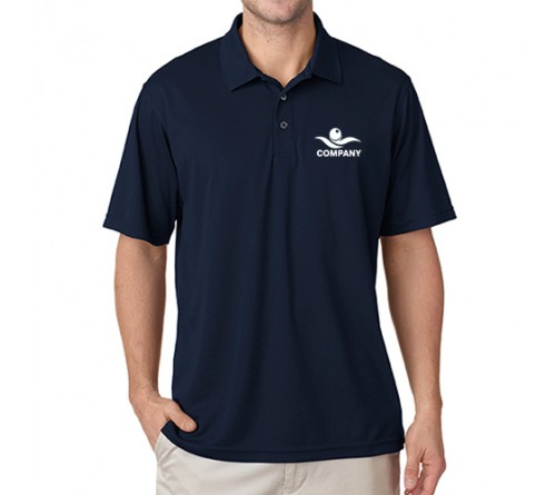 Printed Polo Dri Mesh T-Shirt Navy