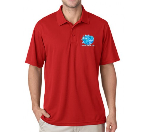 Printed Polo Dri Mesh T-Shirt Red