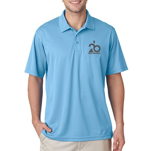 Printed Polo Dri Mesh T-Shirt Sky Blue