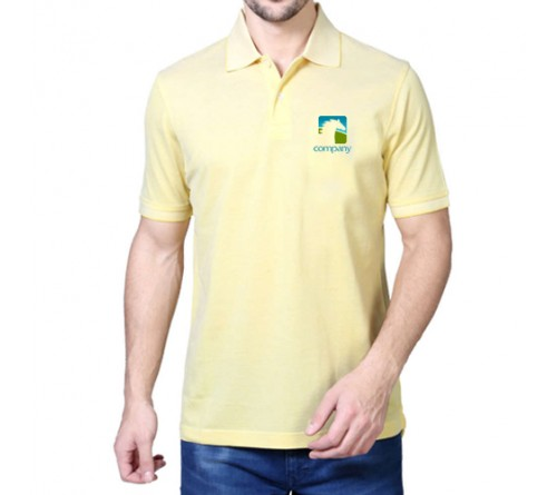 Printed Mixed Cotton Polo T-Shirt Light Yellow