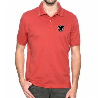 Printed Mixed Cotton Polo T-Shirt Red