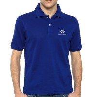 Printed Mixed Cotton Polo T-Shirt Royal Blue