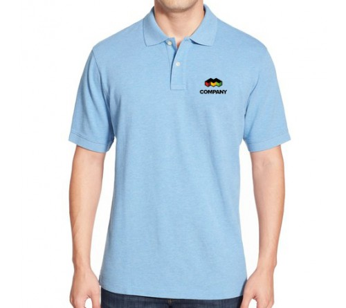 Printed Mixed Cotton Polo T-Shirt Sky Blue