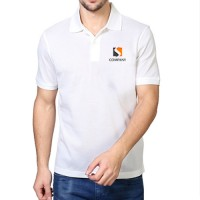 Printed Mixed Cotton Polo T-Shirt White