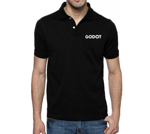 Printed Blended Fabric Polo T-Shirt Black