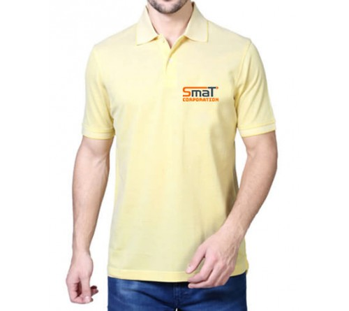 Printed Blended Fabric Polo T-Shirt Light Yellow
