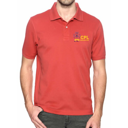 Printed Blended Fabric Polo T-Shirt Red