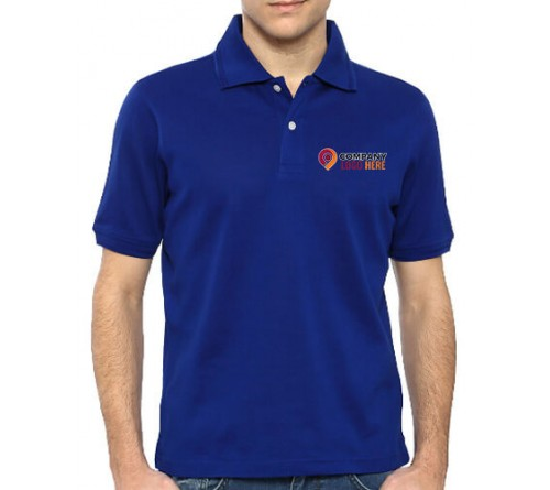 Printed Blended Fabric Polo T-Shirt Royal Blue