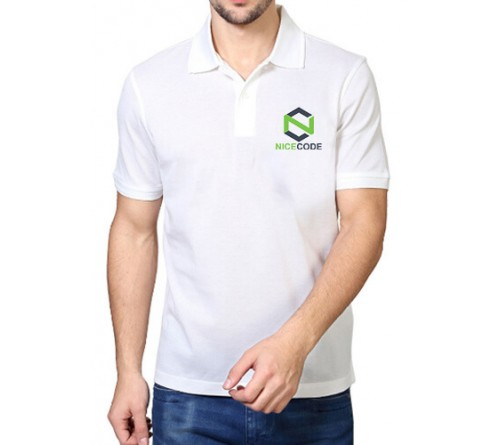 Printed Blended Fabric Polo T-Shirt White