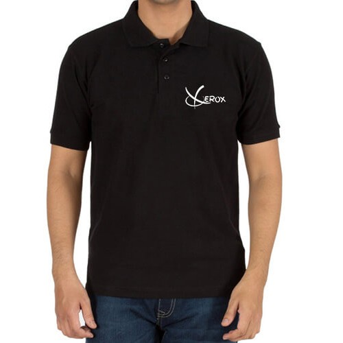 Printed Polo Cotton T-Shirt Black