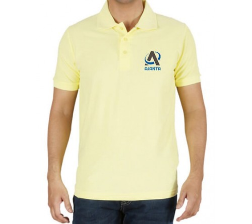 Printed Polo Cotton T-Shirt Light Yellow