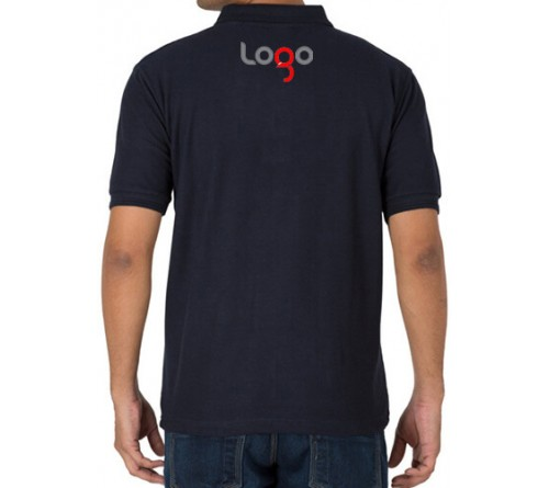 Printed Polo Cotton T-Shirt Navy