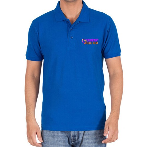 Printed Polo Cotton T-Shirt Royal Blue