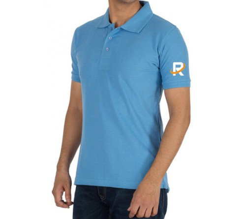 Printed Polo Cotton T-Shirt Sky Blue