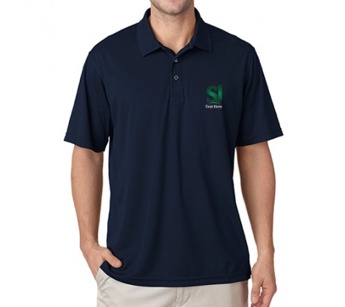 Printed Polo Dri Mesh  T Shirt Navy