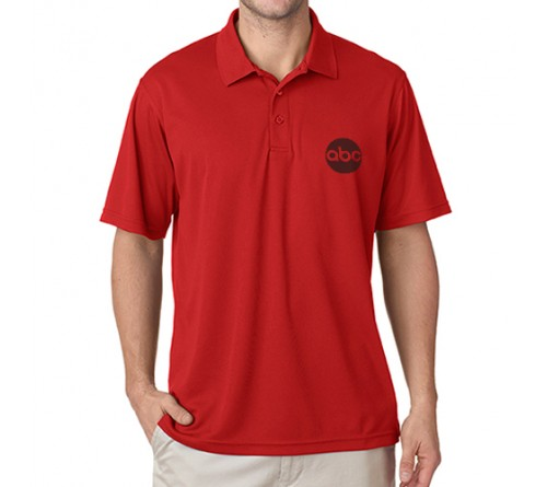 Printed Polo Dri Mesh  T Shirt Red