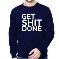 Printed Round Neck Sweatshirts Royal Blue