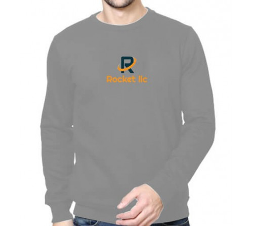 Printed Round Neck Sweatshirts Grey