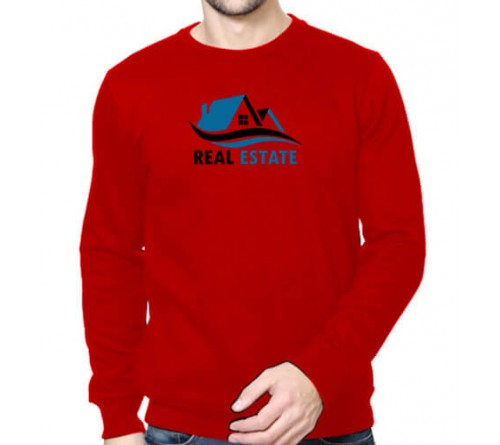 Printed Round Neck Sweatshirts Red