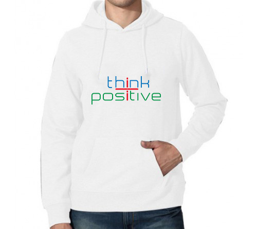 Printed Hoodies White Think Positive