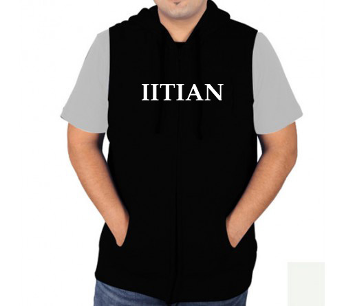 Sleeveless Sweat Jacket Black Front Iitian