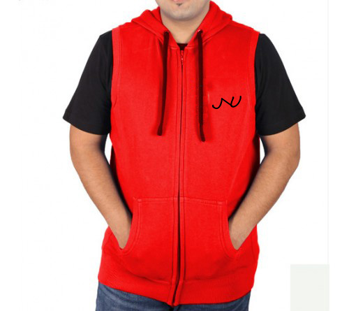 Sleeveless Sweat Jacket Red Jnu