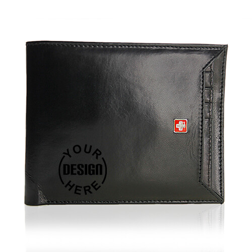 Swiss Military Genuine Leather Men Wallet Black