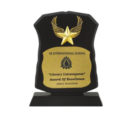 Gold Plated Star Wood Trophy