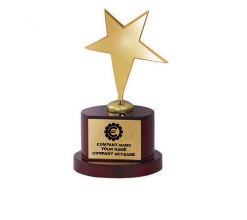 Gold Polished Star on Wooden Trophy