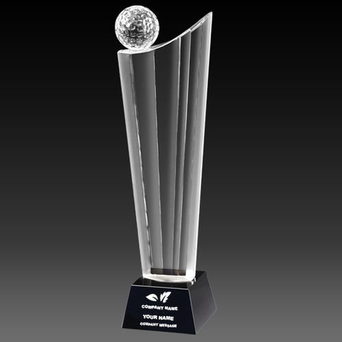 Golf Ball Crystal Trophy