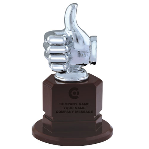 Wooden Base Thumbs UP Trophy