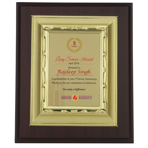 Presentation Plaques With Golden Plate
