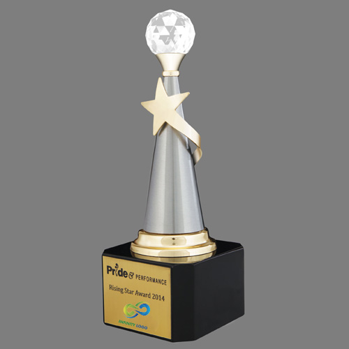 Crystal Ball Gold Plated Star Trophy