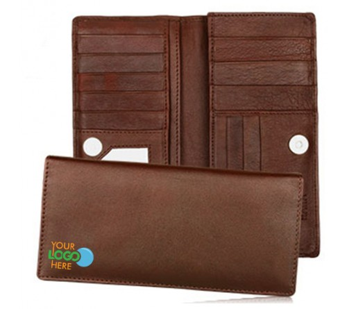 brown color woman wallet logo printed
