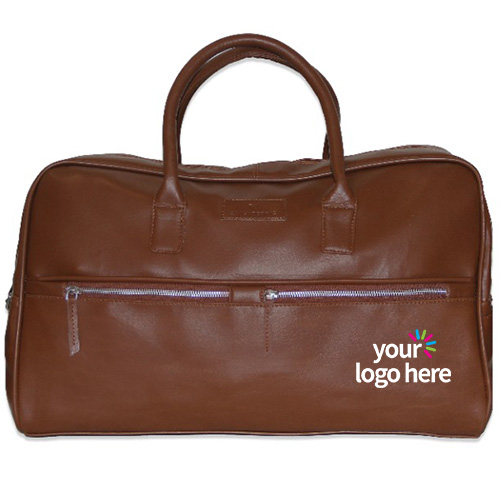 Customized Brown Leather Duffle Bag