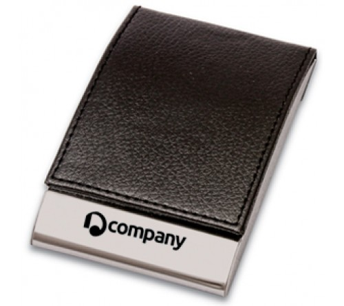 Leather and Metal Business Card Holder