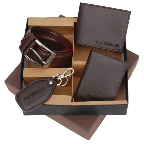 4-in-1 Leather Wallet Card Holder Belt with Key Chain Set
