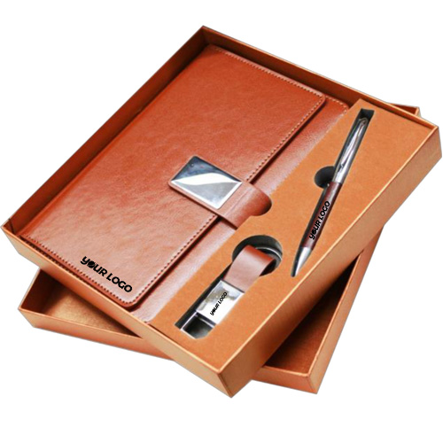 Personalized 3 in 1 Leather Gift Set Notebook