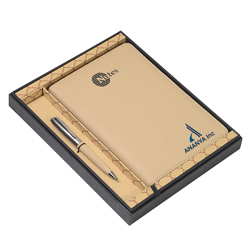 Gift Set Ball Pen And Notebook Golden