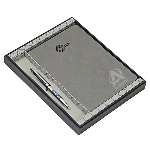 Gift Set Ball Pen And Notebook Gray