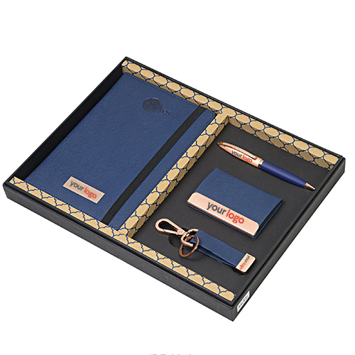 Set Of 4 Gifts Card Holder, Pen, Notebook And Keychain