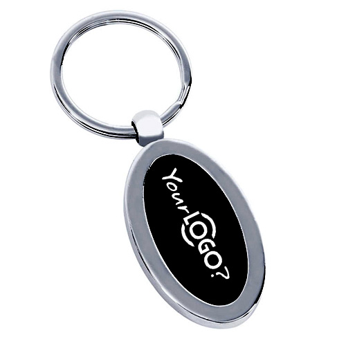 Black Silver Oval Metal Keychain