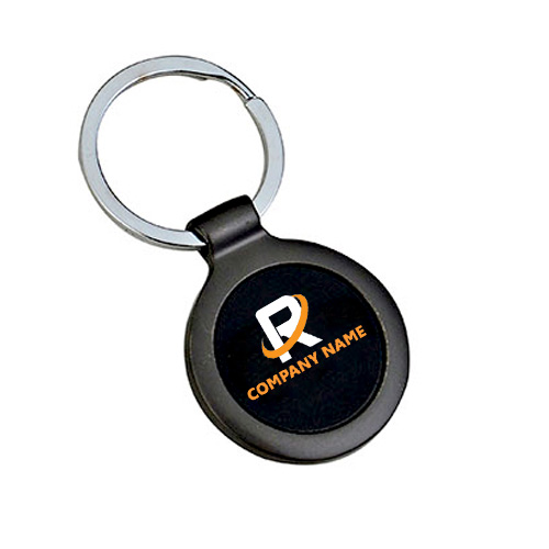 Customized Silver Black Round Keychain