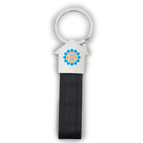 PU Strap Keychain with Metal Hut Top