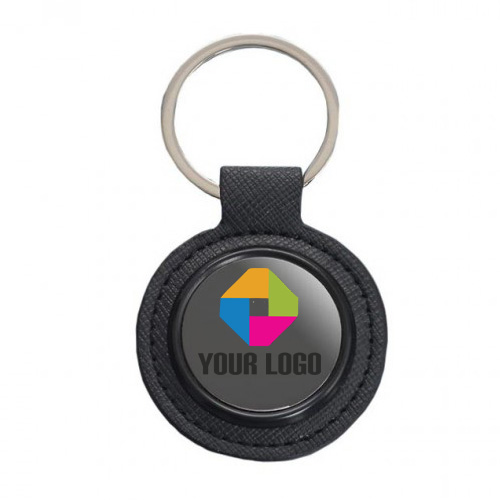 Round Metal Keychain with PU Base